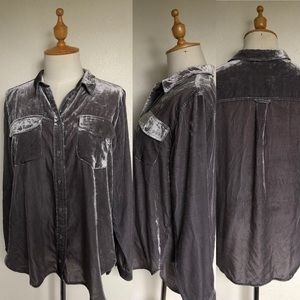 J. Crew Long Sleeve Gray Velvet Button-Up Shirt